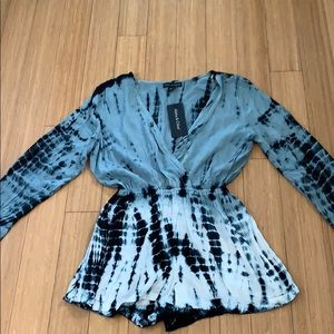 NWT grey tie dye romper